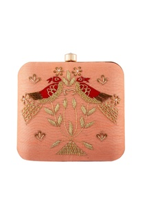 Peach zardosi embroidered clutch