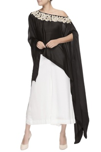 Black pearl embroidered cape & pants