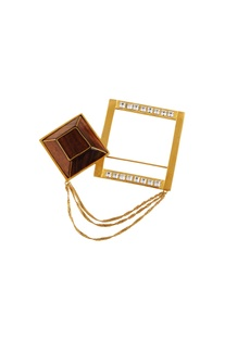 Gold cubic shaped brooch