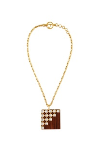 Gold swarosvki crystal pendant necklace