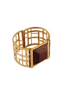 Gold swarosvki crystal cuff bangle