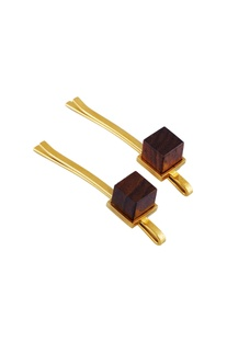 Gold wood cube crowned hair-pins