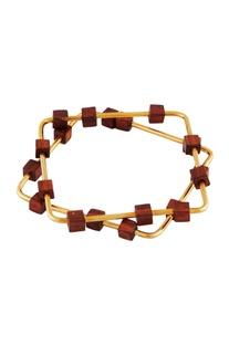 Gold geometric wood bangles