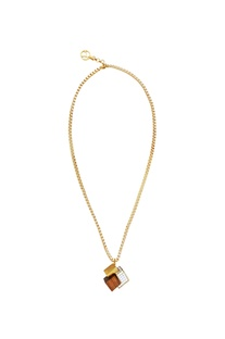 Gold swarovski crystal & wood necklace