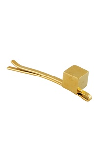 Gold hair-pin with single metal cube