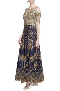 Blue zardozi embroidered  anarkali