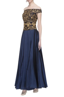 Black & blue zari embroidered gown
