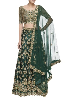 Green zari embroidered lehenga