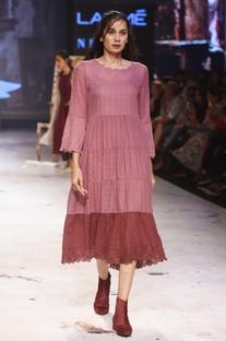 Burgundy embroidered flared dress