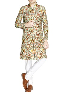 Multicolored printed raw silk sherwani