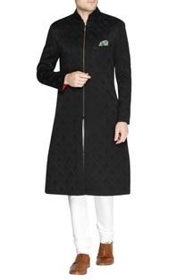 Black jacquard pattern sherwani