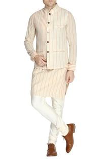 White & orange stripe print kurta set