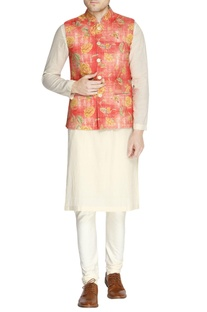 White & orange floral print kurta set