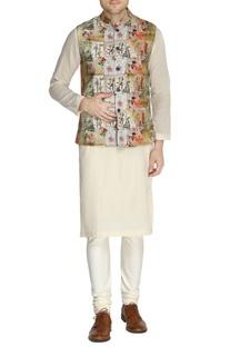 Multicolored parisian printed nehru jacket set