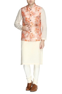 Peach floral print nehru jacket set