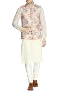 Rose pink floral print nehru jacket set