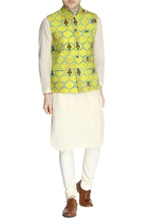 Yellow printed Nehru jacket