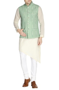 Mint green printed nehru jacket set
