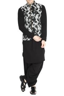 Black & white floral jacquard jacket set