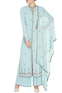 Mint blue embroidered kurta set