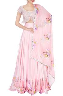 Pink floral printed lehenga set