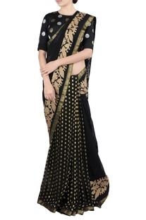 Black applique work sari & blouse