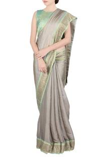 Beige & green jaal work sari & blouse