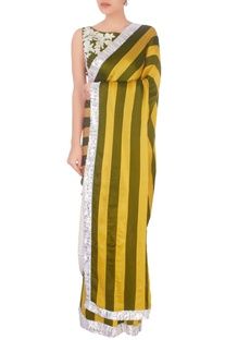 Olive green & yellow stripe pattern sari