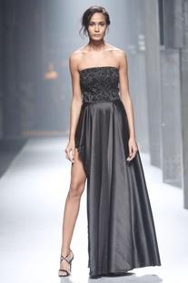 Black strapless asymmetric gown