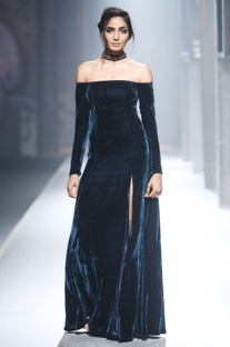 Blue velvet off shoulder gown