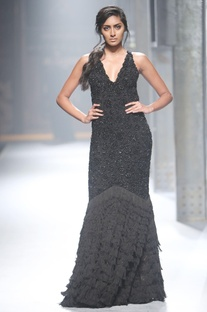 Black fitted v-neck gown