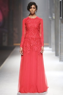 Red long trail gown