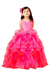 Hot pink ruffle balloon gown