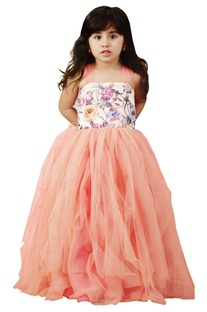 Peach floral frilly net gown