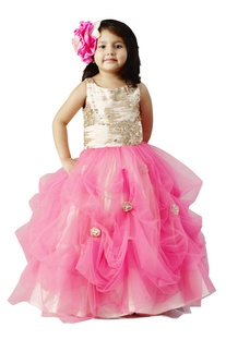 Pink flared sequin gown