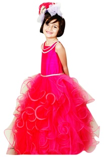 Pink tiered ruffle gown