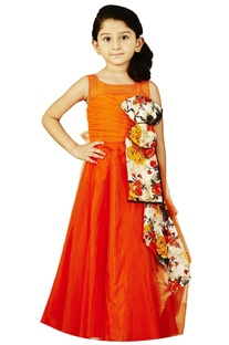 Orange gown with floral bow