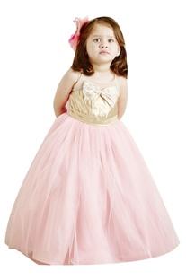 Gold & pink ballerina net gown