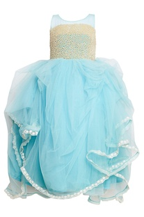 Blue gathered net gown