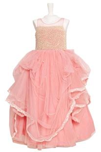 Pink tulle net ballon gown