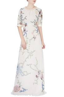 White nautical embroidered gown