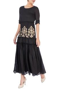 Black tiered flow-y maxi dress