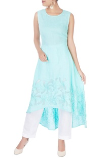 Sky blue embroidered sleeveless kurta