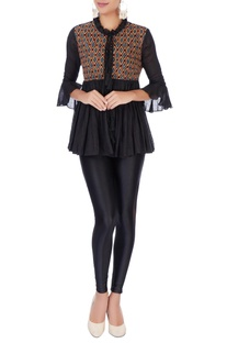 Black peasant blouse with tie-up cords