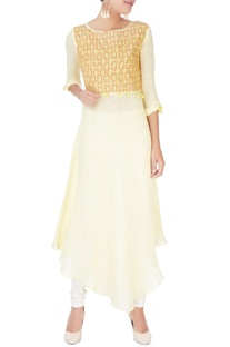 Yellow flowy asymmetric kurta