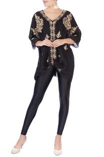 Black embroidered kaftan tunic