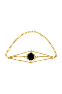 Gold plated onyx choker necklace