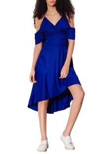 Blue cold shoulder short dress