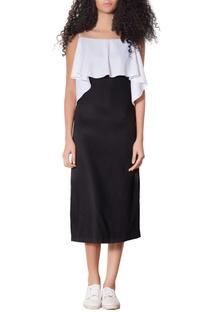 White & black ruffle layer dress