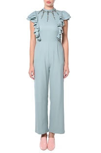Teal green ruffle jumpsuit